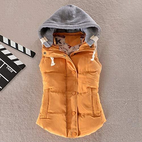 BAONUANY Daunenweste,Gelb Winter Warme Weste Frauen Plus Size Ärmellose Weste Weiblichen Daunenweste Mantel Mode Damen Street Wear Hooded Unterhemden, XL