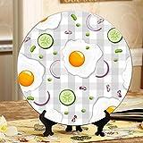 Huevos fritos Tostada Pan Tomate Platos de cerámica baratos Platos de cerámica de China Plato oscilante para el hogar con soporte de exhibición Decoración Exhibiciones de platos para el hogar