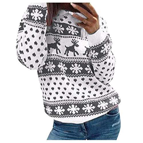 Suéter Mujer, LANSKIRT Mujeres Manga Larga Navidad Estampado de Ciervo Cuello Sudadera Redondo Jersey Suéter 2020 (Gris, XXL)