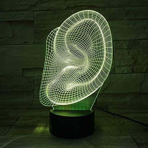 3D acryl nachtlampje met afstandsbediening kleurverandering lamp creatieve oren huishouden baby Nieuwjaar party maskerade marine tafellamp steen