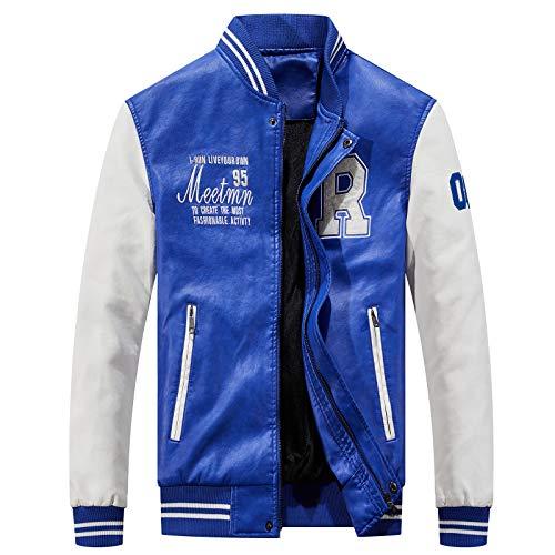 LEOCLOTHO Hombre Chaqueta de Cuero PU de Béisbol Impreso Bomber Abrigo con Cuello Alto Jacket