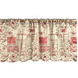 Ambesonne Retro Window Valance, Nostalgic Bicolour Continuous Pattern Retro Gaming Objects Print, Curtain Valance for Kitchen Bedroom Decor with Rod Pocket, 54' X 18', Dark Peach and Cream