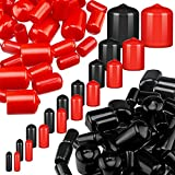 156 Pieces Black and Red Vinyl Flexible End Caps Bolt Screw Rubber Thread Protector Safety Cover in 9 Sizes Form 2/25 to 4/5 Inch