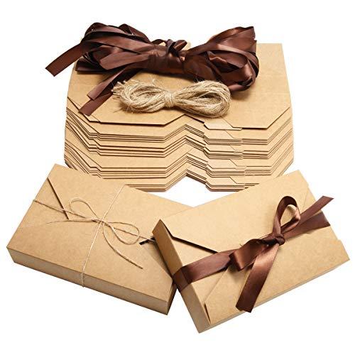 25 Stück Kraftpapier Geschenkbox Box Geschenkschachtel Geschenkverpackung Geschenkboxen mit Geschenkanhänger & Bänder für Hochzeit Geburtstag Babyparty Taufe
