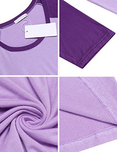 Unibelle Damen Stillnachthemd Umstands-Nachthemd Stillkleid Umstandskleid mit Stillfunktion Lila - 6