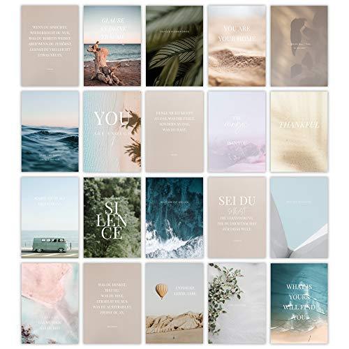 HEJ.CREATION 20 Postkarten im Set ● Postkartenset mit Bildern, Sprüchen und Zitaten zum Thema Motivation, Achtsamkeit und Selbstliebe ● Grußkartenset Lebensliebe Glück
