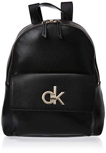 Calvin Klein Damen Re-lock Backpack Umhängetasche, Schwarz (Black), 13.5x33x26 cm