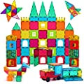 AFUNX 130 PCS Magnetic Tiles Building Blocks 3D Clear Magnetic Blocks Construction Playboards, Inspiration Building Tiles Creativity Beyond Imagination, Educational Magnet Toy Set for Kids with 2 Cars by AFUNX