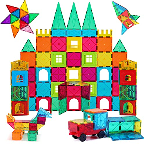 AFUNX 130 PCS Magnetic Tiles Building Blocks 3D Clear Magnetic Blocks Construction Playboards, Inspiration Building Tiles Creativity Beyond Imagination, Educational Magnet Toy Set for Kids with 2 Cars