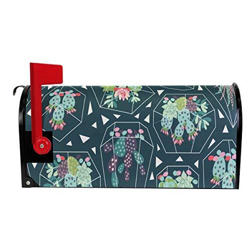 Wamika Sukkulenten Kaktus-Glas-Welcome-Briefkasten-Abdeckung für Briefkasten, grüne Tropische Pflanze, Standard-Größe, Makover Mailwrap Garten Home Decor - 3