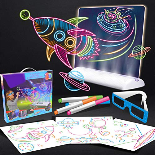 Wuawtyli 3D Fluorescent Drawing Board, Kids Educational Drawing Toys,with Eye Protecting Light Source,3D Glasses,Sensory LED Drawing Board, Colorful Flashing Graffiti Board, for Boys and Girls