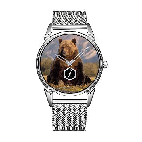 Mode Herrenuhr silbernen Edelstahl wasserdicht Uhr Herren Top-Marke Herrenuhr Uhr Braunbär, Ursus Arctos, Grizzlybär, Ursus Armbanduhren