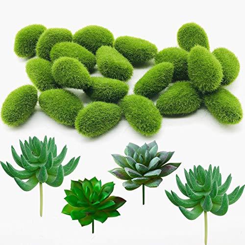 Woohome 30 Pz Musgo Artificial Rocas Decorativas, Artificiales Plantas Suculentas y Artificiales Decorativas de Imitación para Jardines, Arreglos Florales y Manualidades