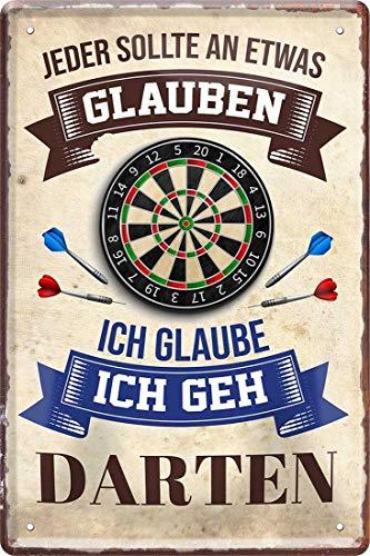 Ich glaube: Ich GEH Darten Dart 20 x 30 cm Fun Spruch Deko Blechschild 1226