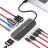 TSUPY HUB USB C 12 en 1 Tipo C HUB con 4K HDMI, VGA,Transferencia de Datos Tipo C, USB-C PD, 3 USB 3.0/2.0,Lector de Tarjetas SD/TF, RJ45 para MacBook Pro/Air,Chromebox Pixel y más