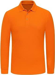 Miqieer Men Long Sleeve Polo Shirt Regular-Fit Cotton Golf Polo Shirts