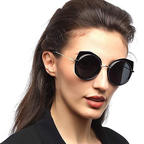 DKee Gafas de sol polarizadas para mujer, marco redondo, protección UV400, estilo clásico (color: negro)