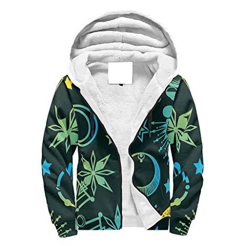 O2ECH-8 Herr Reißverschluss Oben Super warm Vlies Sweatshirt Junior Star Moon Green Drucke Lustig - blau Vlies Loose Comfort Herbstoberteile White m