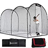Gagalileo Batting Cage Baseball Cage Net Softball Cages, Heavy Duty Netting Backstop for Backyard, Training Softball Baseball for Pitching Pitchers 16x10x10FT