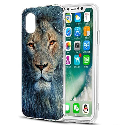 Pnakqil Hülle kompatibel mit Huawei Honor Play 8A Phone, Silikon Schutzhülle TPU Clear Transparent Kratzfest UltraDünn Stoßfest Muster Handyhülle für Huawei Honor Play 8A, Blauer Löwe