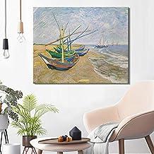 liwendi Barcos De Pesca En La Playa En Les by Van Gogh Impresión De Póster En Lienzo Arte De La Pared Lienzo Pintura Decorativa Abstracta para El Hogar Habitación 60 * 80 Cm