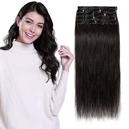 Extension a Clip Pas Cher Cheveux Naturel Rajout Vrai Cheveux Humain Lisse - 8 Bandes pour Cheveux Fin (#1B NOIR NATUREL, 25cm-50g)