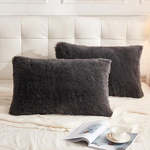 LIFEREVO 2 Pack Shaggy Plush Faux Fur Decorative Throw Pillow Cover Velvety Soft Cushion Case (Dark Gray, Standard Queen)