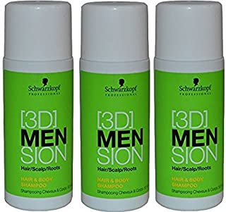 Schwarzkopf [3D] Mension Hair and Body Shampoo 50ml Small Travel Size x 3 (triple Pack) by Schwarzkopf