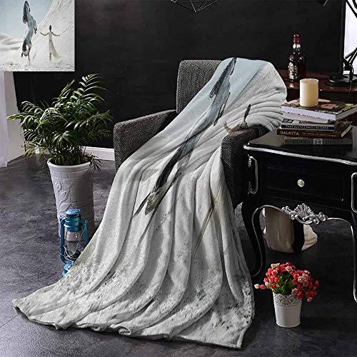 GGACEN Stoeldeken Silhouet van Sexy Vrouw Liggend in een Hangmat bij Majestic Sunset View Droom Print Comfortabel Zacht Materiaal, geef je Grote Slaap