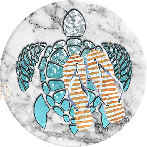 PEIGJH Alfombra De área Redonda Moderno Antideslizante Sala De Estar Dormitorio Baño Cocina Suave Alfombra Alfombra, 60cm, Hielo Azul Tortuga De Mar Mármol Gris