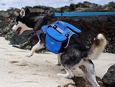 ThinkPet Outdoor Dog Backpack Reflective Saddle Bag - Dog Pack Double Bag for Hound Travel Rucksack for Medium Large Dogs (XL, Light Blue Pack)