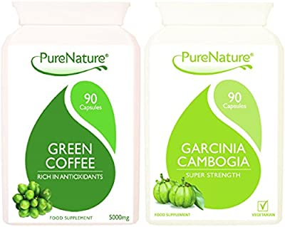 Green Coffee Bean High Strength & Garcinia Cambogia Triple Strength Combo Pack From Purenature ® Diet, Slimming And Wellbeing 180 Vegetarian & Vegan Capsules by Distributed by Be-Beautiful-online