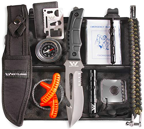WEYLAND Outdoor Tactical Survival Kit - Emergency Gear and Equipment with a Full Size Survival Knife, EDC Camping and Hiking Tools, Essential Supplies for Bugout Bag or Any Military Men or Outdoorsman