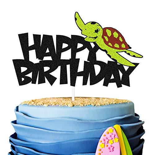 Sea Turtle Cake Topper Tortoise Ninja Ocean Marine Animal Creatures Themed for Kids Boy Girl Men Women Happy Birthday Party Supplies Black Glitter Double Sided