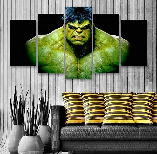 KOPASD Cuadro sobre Lienzo - 5 Piezas - Impresión en Lienzo - Caracteres de la película de Hulk Super Hero - Diseño Exquisito - Listo para Colgar - en un Marco