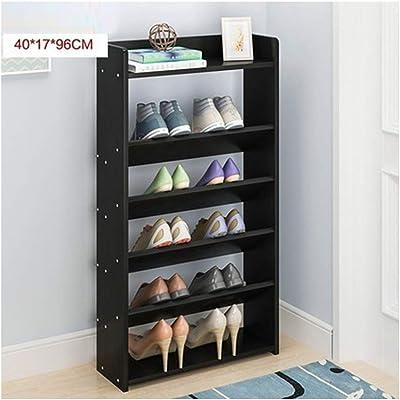 JIANFEI Zapatero Zapatos Estantería Almacenaje Dormitorio Impermeable De Almacenamiento Multifuncional, Panel A Base De Madera 3 Colores 5 Tamaño (Color : Negro, Tamaño : 40x17x96cm)