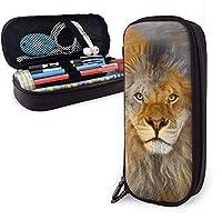 金色の旗を持つキングライオン ペンケース 筆箱 化粧ポーチ 取り出しやすい ファスナー付き 収納可能 多機能 持ち運びに便利 学生 大人適用 男女兼用