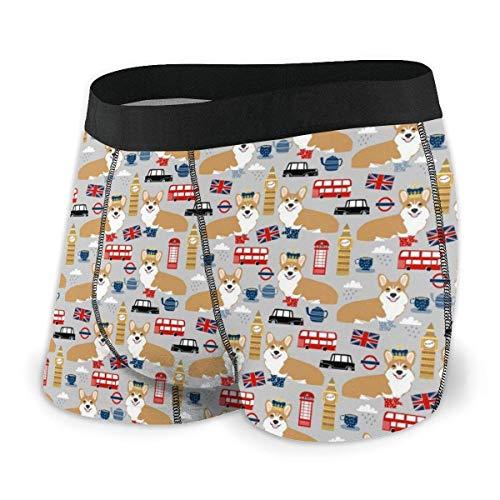 Drempad Boxer Aderenti da Uomo, Men's Boxer Brief Corgis in London Protection Boxershorts Slip Boxer Pantaloncini