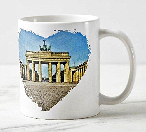 Exklusiver Berliner Kaffee Becher - Motiv: Das Brandenburger Tor in Berlin (Aquarell) - Foto-Tassen/Fotos / Bilder/Souvenirs
