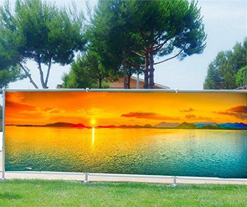 StickersNews Brise Vue Bedruckt, Garten, Terrasse, Balkon Deko Sonnenuntergang, Stoff Kunststoff, 100%, 250x97cm