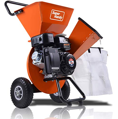 SuperHandy Wood Chipper Shredder Mulcher Ultra Duty 7HP Gas 3 in 1 Multi-Function 3' Inch Max Wood Capacity EPA/CARB Certified for Fire Prevention/Building...