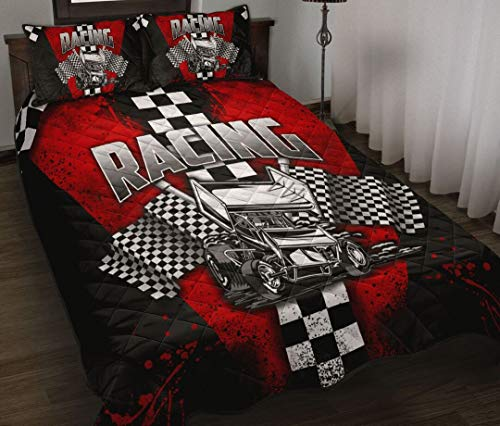 Sprint Cars Red Watercolor Quilt Sets Christmas Birthday Little Girls Kids Gift Best Decorative for Bedding Set, Xmas Gifts from Mom Mother Dad Daddy Father Grandma