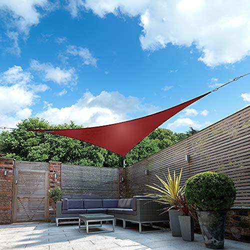 Kookaburra Wasserfest Sonnensegel Weinrot Wasserabweisend Imprägniert Wetterschutz 98% UV Schutz für Garten Terrasse und Balkon (5,0m Dreieck)