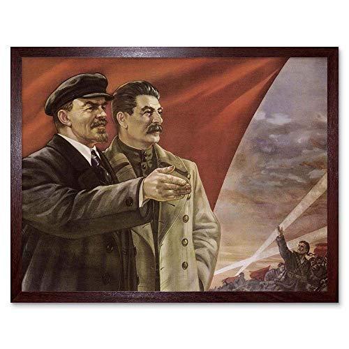 Wee Blauwe Coo Propaganda Stalin Lenin Communisme Rode Vlag Sovjet Ussr oktober Art Print Ingelijste Poster Muurdecoratie 12X16 Inch