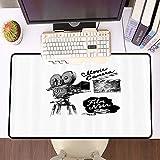 Übergroße Spiel Mauspad -Schreibtischunterlage Large Size,Kino, antike Filmkamera handgezeichneten...