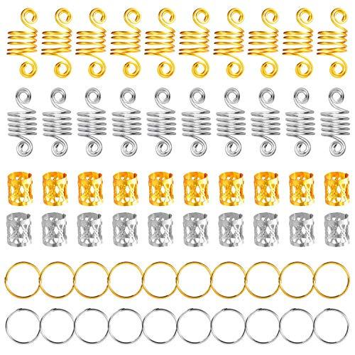Haarringe Braid Ringe Aluminium Haarspangen Dread Locks für Haar Set, Haarspange, Zöpfe Zubehör 60 Stück