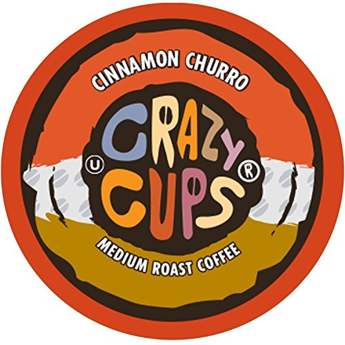 Crazy Cups Flavored Coffee for Keurig K-Cup Machines, Cinnamon Churro, Hot or Iced Drinks, 22 Single Serve, Recyclable Pods