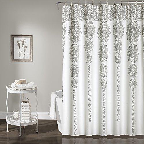 "Lush Decor, Gray Stripe Medallion Shower Curtain-Fabric Mandala Bohemian Damask Print Design, x 72"", Blue, 72"" x 72"""