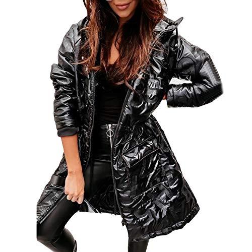 FNKDOR Lang Lederjacke Damen Winterjacke mit Kapuze Glänzend Lose Wintermantel mit Arabische Ziffern und Buchstabe Offsetdruck Schwarz 5XL
