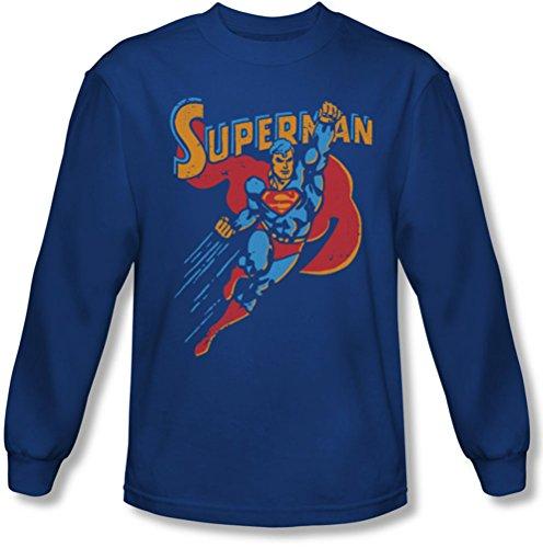 Superman - - T-shirt manches longues action Life Like pour hommes, Large, Royal Blue